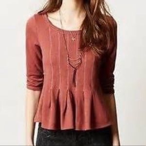 Saturday Sunday Peplum Top Washed Red Size S